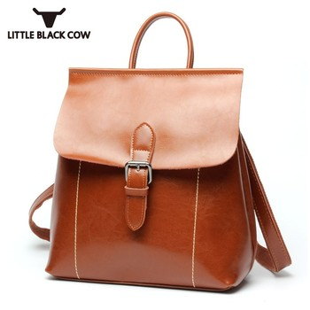 Brand New Female High Quality Softshell Leather Backpack For Youth Girls School Bookbag Retro Buckle Satchel Brown Black Bag
