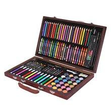 Kit de desenho conjuntos de arte 120 pçs arte criatividade conjunto em caso de madeira suprimentos de pintura ou desenho pintura ótimo presente para crianças
