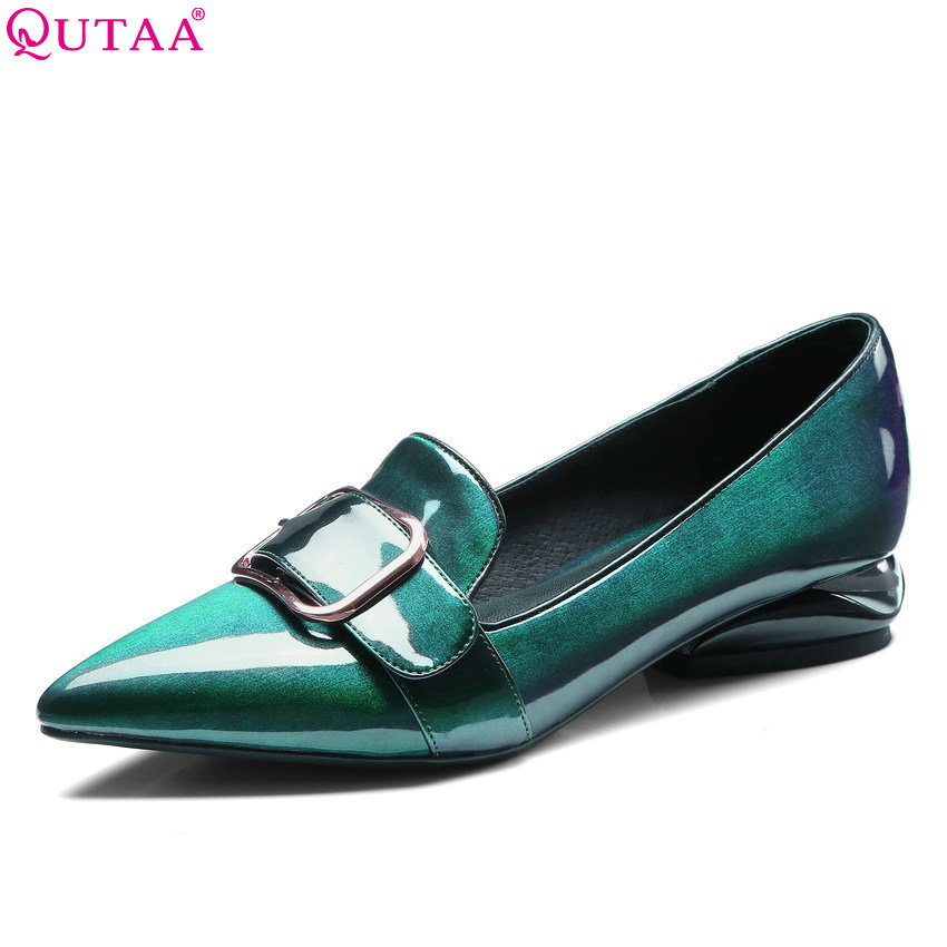 QUTAA 2018 Women Pumps Patent Leather Fashion Women Shoes Slip on Buckle Westrn Style Pointed Toe Ladies Pumps Size 34-42 p23128 women patent leather thin heel pumps elegant pointed head stiletto fashion simple style ladies heeled shoes size 33 42
