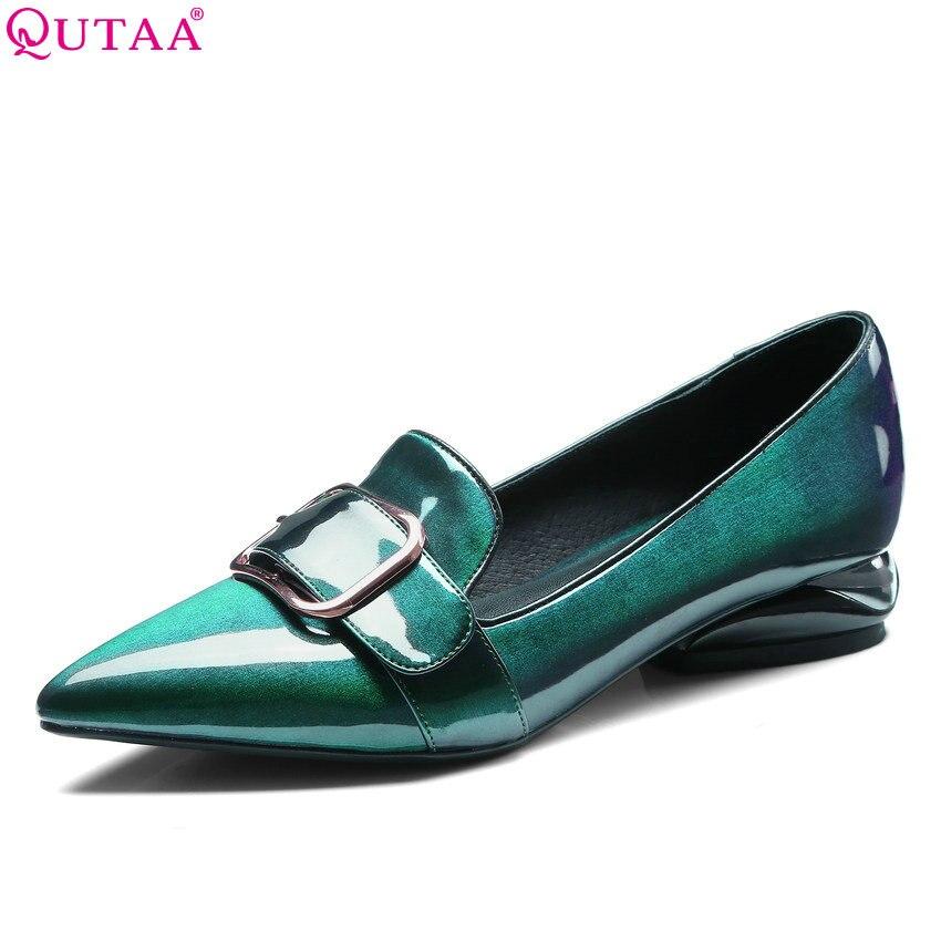 Ayakk.'ten Kadın Pompaları'de QUTAA 2020 Kadın Pompaları Patent Deri Moda Kadın Ayakkabı Slip Toka Batı Tarzı Sivri Burun Bayanlar Pompaları Boyutu 34  42'da  Grup 1
