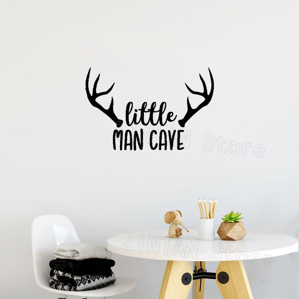 Us 6 62 29 Off Woodland Nursery Wall Decal Little Man Cave Baby Boy Sticker Quote Deer Antlers Kids Room Decoration Stickers Muraux Z436 In