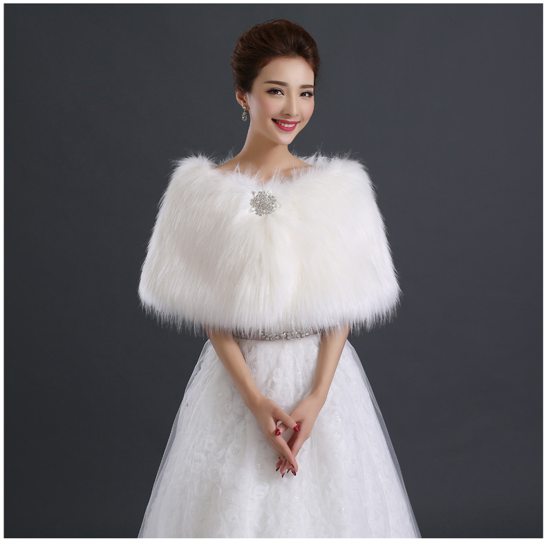 Купить с кэшбэком fur wedding capes crystal bride wrap faux fur wrap evening bolero
