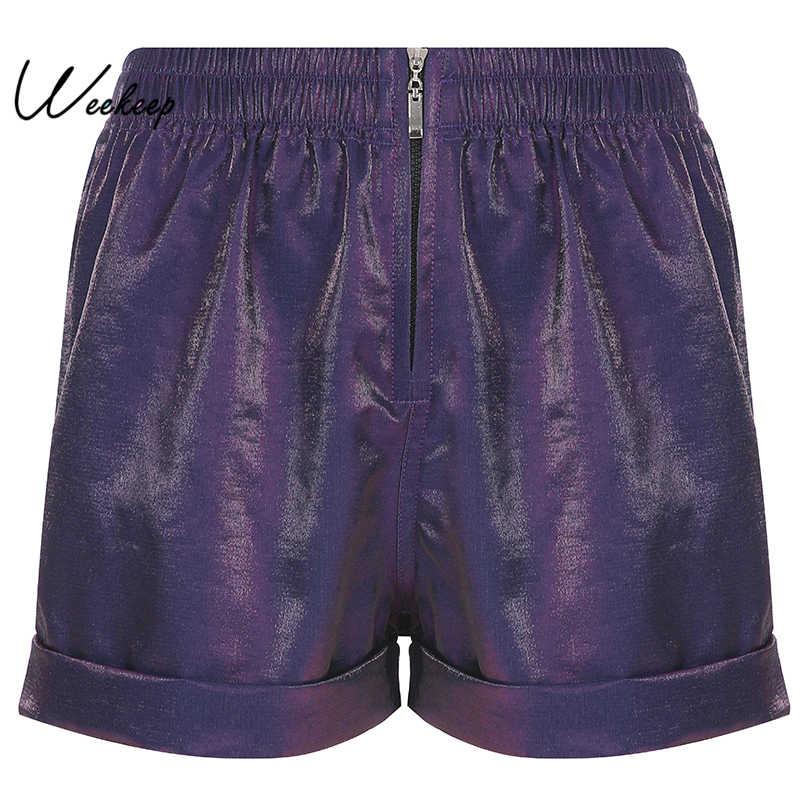 Weekeep Women Zipper High Waist Shorts 2019 Summer Casual Elastic Waist Shorts Women