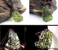 Hot Sale A Natural Moldavite Green Aerolites Crystal Stone Pendant Energy Apotropaic4g 6g Lot Free Rope