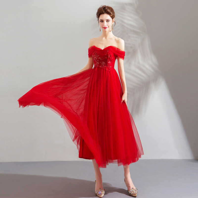 ... Walk Beside You Red Evening Dresses Teal Length Tulle Flowing Beach  Sequined Appliques Off Shoulder Rose ... 4547005b2f50