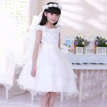Корейский Принцесса Девушки Летом Показать Цветок Дети Платье Белого Кружева Цветы Партии