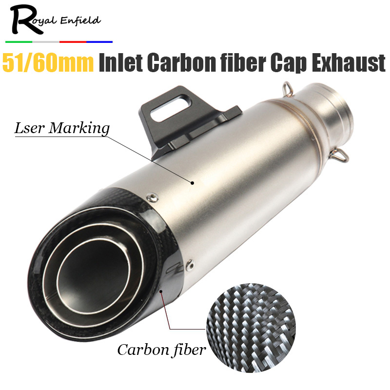 Universal Motorcycle Exhaust Pipe Modified Carbon Fiber GP Muffler Racing For z1000 mt09 R6 S1000RR CBR500 ZX-6R Z900 GSXR600 R1 r qiankong 36 51mm carbon fiber modified exhaust pipe muffler for kawasaki z250 z650 z750 z800 z900 z1000 sx ex250 300 zx 6r 10r