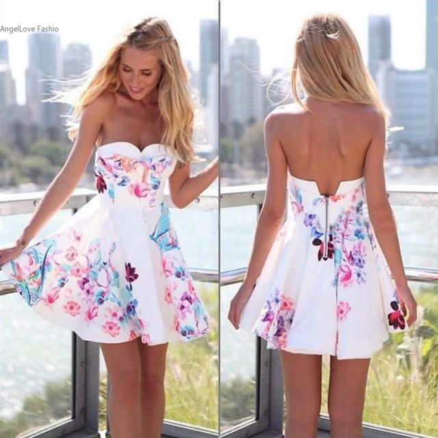 2016 Women Strapless Floral Backless Dress Formal Evening Mini Dress