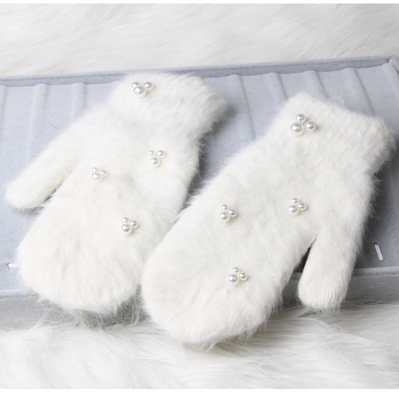 12 color 2022 Fashion women winter gloves Luxury Pearl Decoration Rabbit Fur Gloves For Girl winter outdoor Female mittens Luav