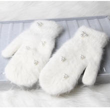 2018 Fashion women winter gloves Luxury Pearl Decoration Rabbit Fur Gloves For Girl winter outdoor Female mittens 6 Color cheap Gloves Mittens MONIQUE ORENDA Wrist 0601 Adult Animal One size suit most of women Autumn Winter From 16 years old to adult