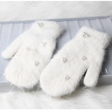 59be95a5007d77 2018 mode frauen winter handschuhe Luxus Perle Dekoration Kaninchenfell  Handschuhe Für Mädchen winter outdoor Weibliche handschuhe