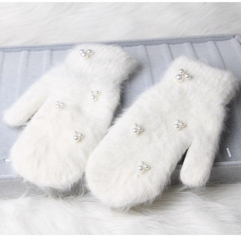 Guantes de invierno de moda de 2018 para mujer, guantes de piel de conejo de decoración de perlas de lujo para niñas, guantes de invierno para exteriores, 6 colores