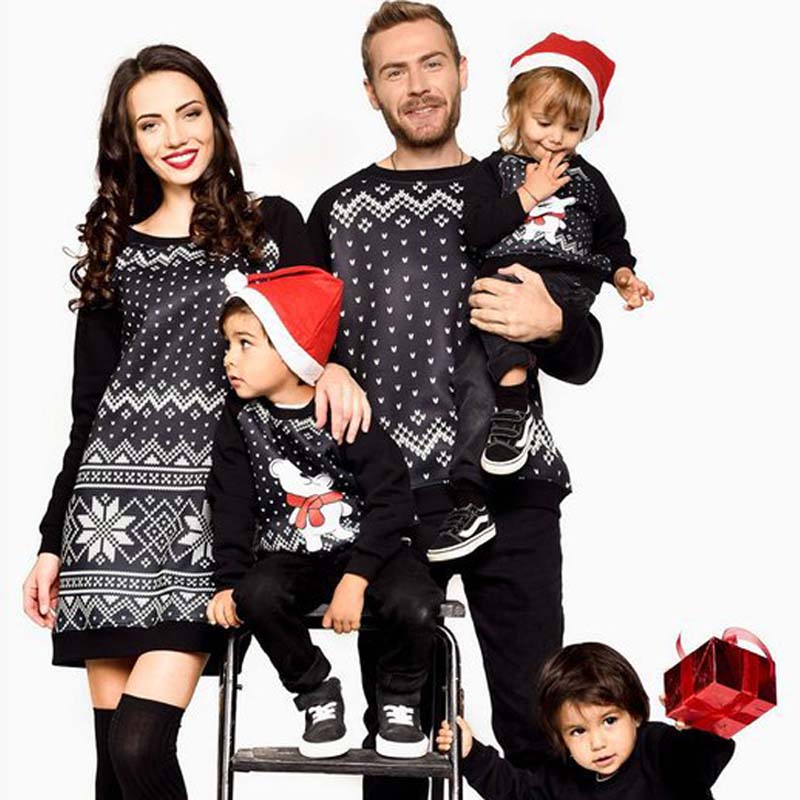 Family Matching Look Outfit Mother Father Kid Sweater Parents Daughter Son Christmas Long Sleeve Clothes Mom Dad and Me Tops dad mom& me:创意美工(5 6岁)