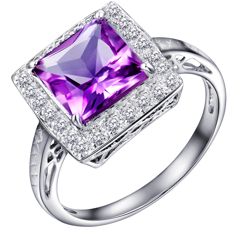 Natural Amethyst Ring 925 Sterling silver Square Purple Crystal Woman Fashion Fine Elegant Jewelry Queen Birthstone Gift sr0104a natural green peridot ring 925 sterling silver crystal rose gold plated woman fashion fine elegant jewelry queen birthstone gift
