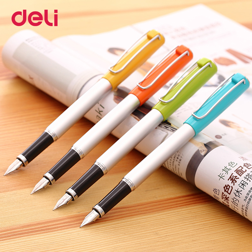 Deli cute Pen Ink Writing Business Fountain Pen four colors school & office supplies Christmas Lovely gift pen for friends deli 6791 0 5mm gel ink counter table pen for writing