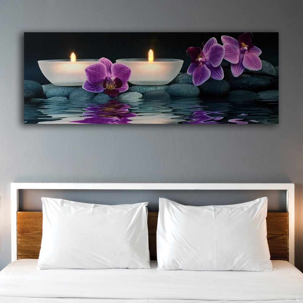 Led wall picture orchids with tealights zen illuminated canvas art light up decor HD painting artwork printed framed 16x40inch