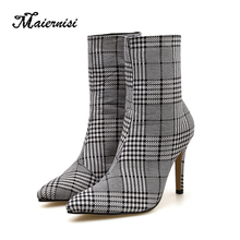 MAIERNISI Plus Size 40 Women 9cm High Heels Mid-Calf Boots Zebra Plaid Spring Boots Denim Fetish Boots Lady Fashion Brand Shoes mljuese 2019 women mid calf boots kid suede gray color high heels letter autumn spring women martin boots casual boots size 40