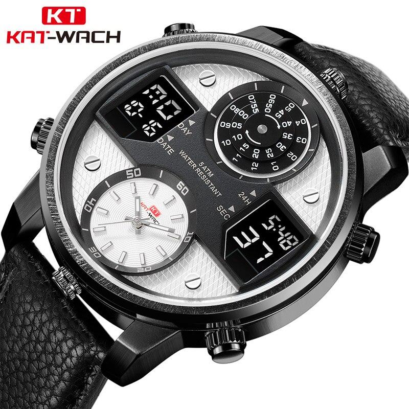 KAT-WACH Hommes D'affaires de Montres Chronographe Analogique Quartz Montre Hommes Date Lumineux Étanche Bracelet En Cuir De Mode Montre-Bracelet