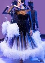 Robe de danse pour concours de bal, robe de danse en tissu britannique, tango salsa samba, tenue de danse latine, Rumba Jive balck