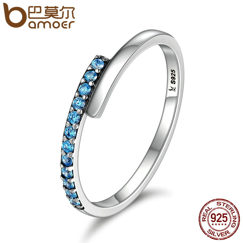 BAMOER Genuine 100% 925 Sterling Silver Geometric Melody Blue Sparking CZ Finger Rings for Women Sterling Silver Jewelry SCR099