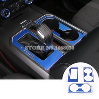 Inner Gear Box & Water Cup Holder Cover 11pcs Blue For Ford F150 F-150 2015-2017