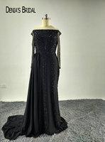 2017 Fashion Zwart de Schouder Kralen Lange Mouwen Mermaid Avondjurken met Trein