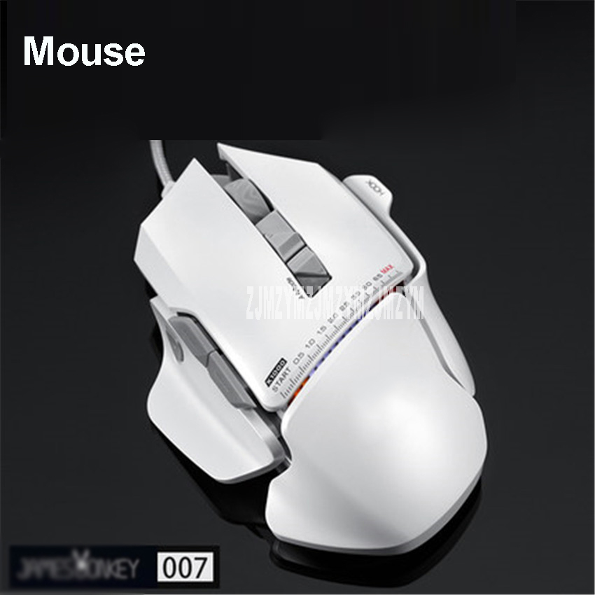 007 USB Wired Optical Laser Gaming Mouse 8200DPI Adjustable 8 Buttons with RGB Backlight For PC Mac LOL CS Gamers White / Green i rocks im3 we usb 2 0 wired 3500dpi optical gaming mouse w backlight white