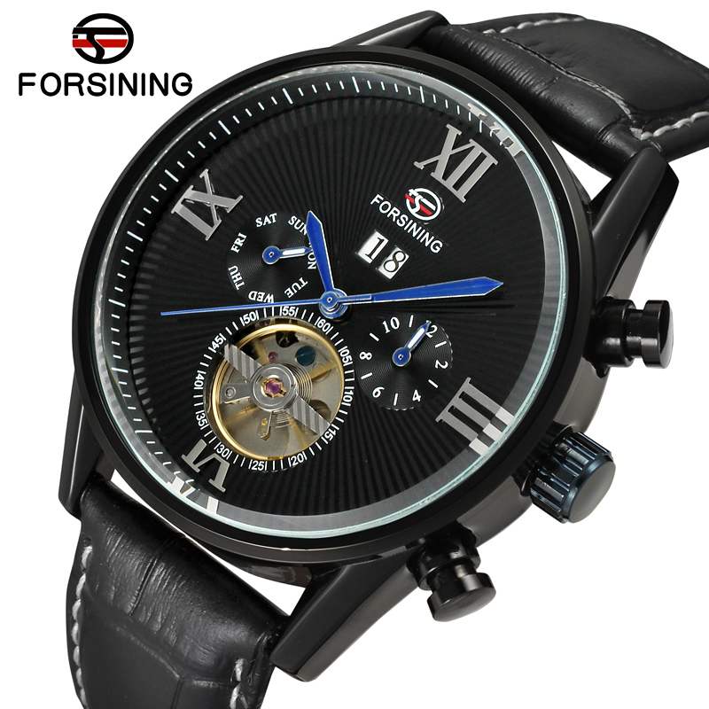 FSG16556M3B4 Hot new style fashion Automatic self wind business men watch with black genuine leather strap