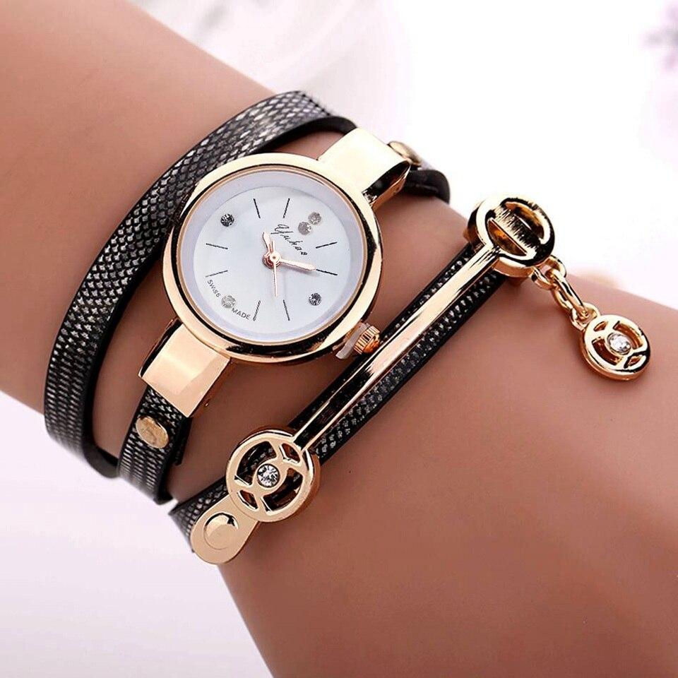 Bracelet Gold Leather Casual Bracelet Watches