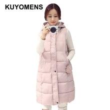 KUYOMENS Winter Vest Women 2017 New Fashion Waistcoat Plus Size Slim Candy Color Vests Hooded Down Cotton Warm Long Vest