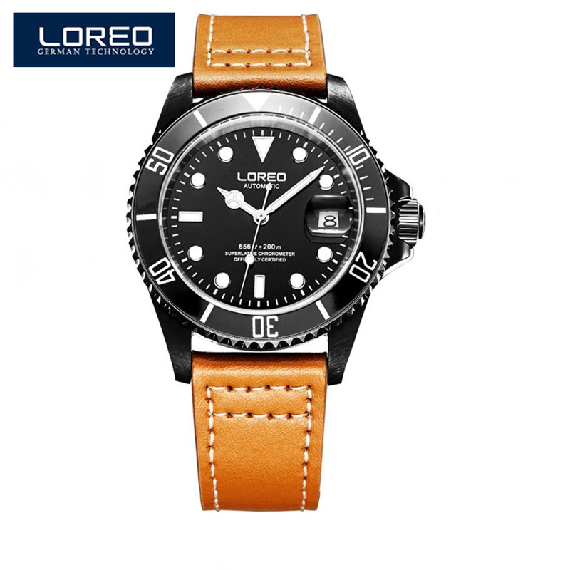 LOREO Sapphire Automatic Mechanical Auto Date Men Watch Stainless Steel Waterproof Leather Watch Relogio Feminine AB2037 loreo sapphire automatic mechanical watch men stainless steel waterproof auto date nylon watch relogio masculine masculino k34