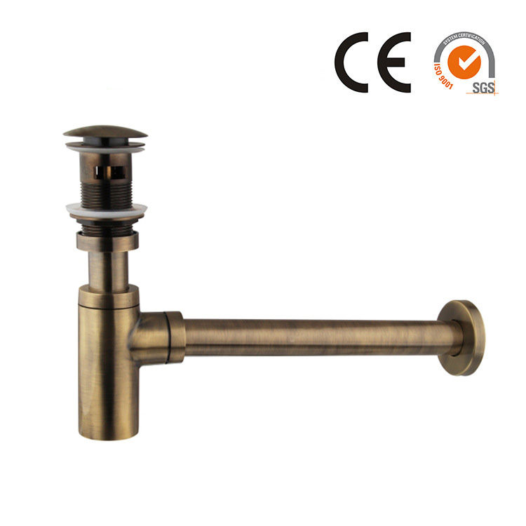 Luxury Brass Round Pop Up Drain With Bottle P-Trap for Bathroom Bain Sink Tap Waste Drain Antique bronze/ Black/ Gold 11-222 premium pop up bottle traps pop up click clack waste drain angel valve braided hose drain plumbing trap kit