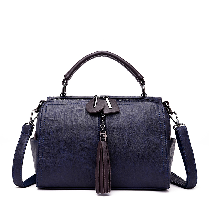 New Arrival Genuine Cow Leather Tassel Women Handbag Design Vintage Boston Solid Zipper Women Shoulder Bag Women Crossbody Bag недорго, оригинальная цена
