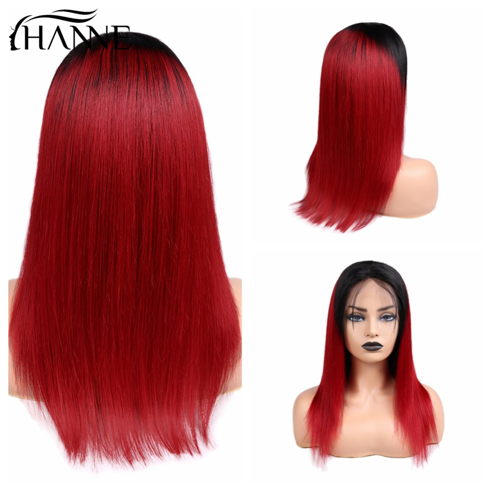 HANNE Remy Human Hair Wigs Ombre Red Straight Wig 13*4 Frontal 150% Density Wigs With Baby Hair For Black Women Cosplay