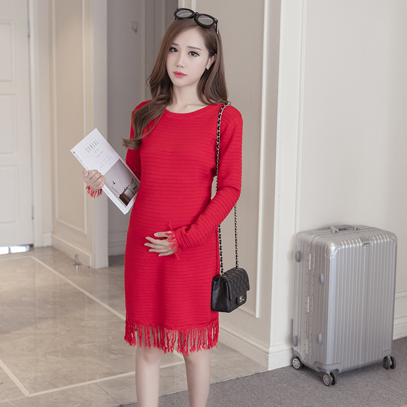 Pengpious pregnant women tassel sweater thickening long sleeve o-neck basic sweaters maternity knitted dresses pregnancy tunic