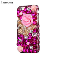 Laumans Handmade Flower Rhinestone Back Case For iphone X Diamond Hard Phone Cover For 5c 5s 6 6s plus 7 8 plus Protection shell