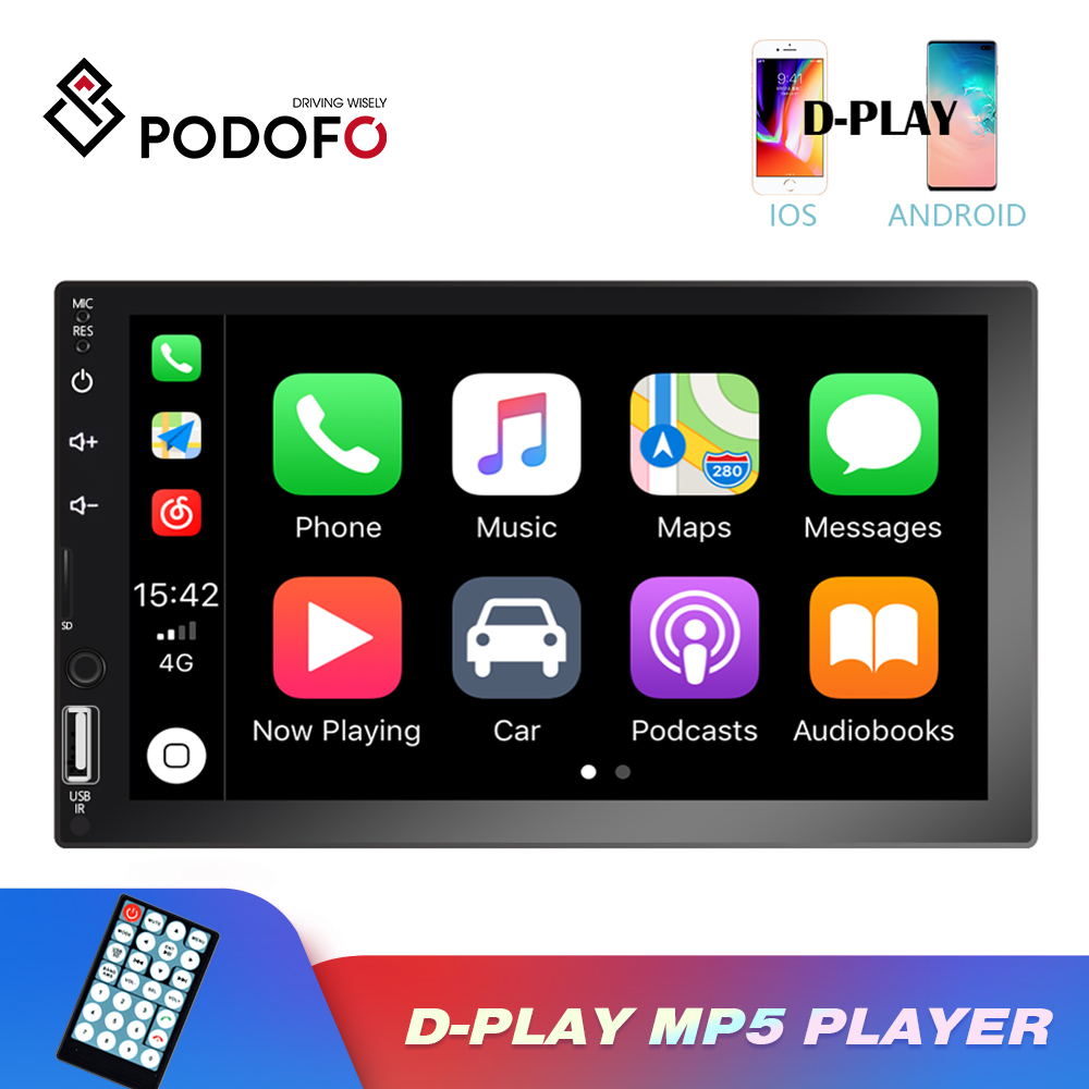 Podofo 2 Din Car Radio 7'' Touch Screen Multimedia Player MP5 Bluetooth Mirror Link For Android Iphone assette Recorder Stereo