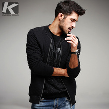 KUEGOU 2017 Spring Mens Casual Jackets And Coats 100% Cotton Black Plaid Brand Clothing Man's Slim Clothes Plus Size Tops 6020