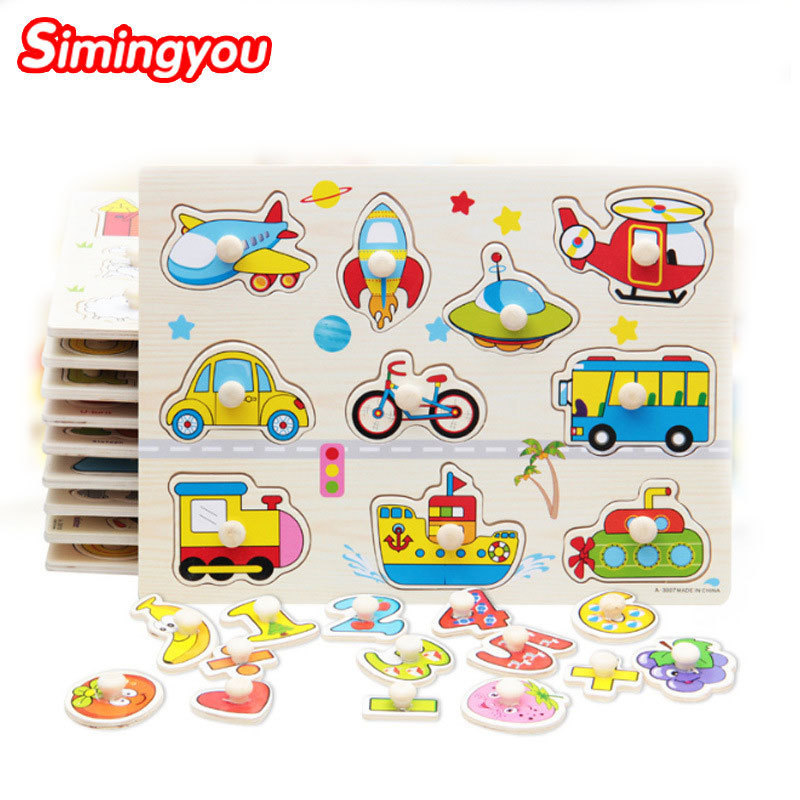 Simingyou Wooden Toy Hand <font><b>Puzzles</b></font> People Animals Recognition <font><b>Puzzle</b></font> For Children Montessori Educational B40-200302 Drop Shipping