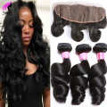 Peruvian Loose Wave With Frontal 3 Bundles With Closure 4x13 Lace Frontal Closure With Bundles Peruvian Virgin Hair With Closure