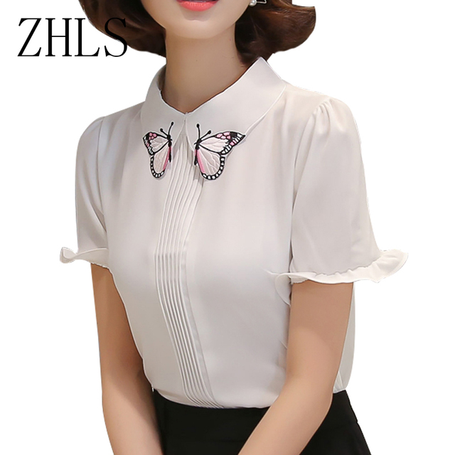 peter pan collar women blouses chiffon short sleeve butterfly
