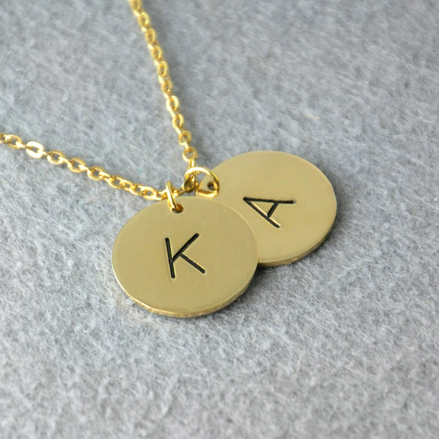 Personalized initials necklace custom letter necklace friendship personalized initials necklace custom letter necklace friendship name necklace disc charm personalized aloadofball Image collections