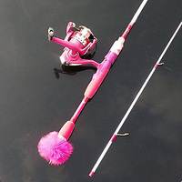 1 hoge kwaliteit 6-12g verleiding Gewicht Roterende cast rock vissen staaf Handig roze hoge carbon staaf 1.98 M meisje ijsvissen staaf