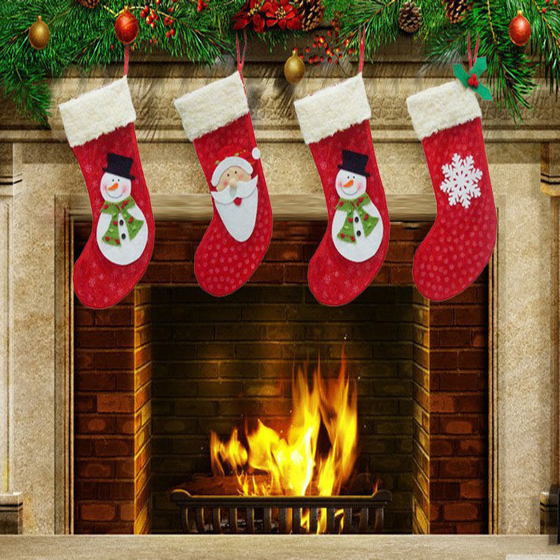 3pc Set Santa Claus Snowman Snowflake Christmas Stockings Candy Socks Gift Bag Decorations Party In Holders