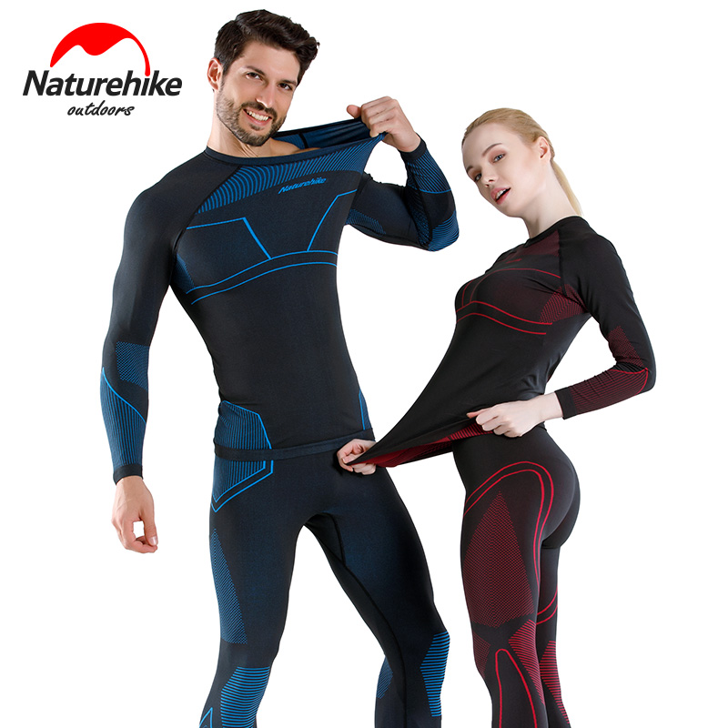 Brave Naturehike Winter Women Men Snowboard Thermal Underwear Quick-drying Sports Hiking Shirt Pants Set Skiing Clothes