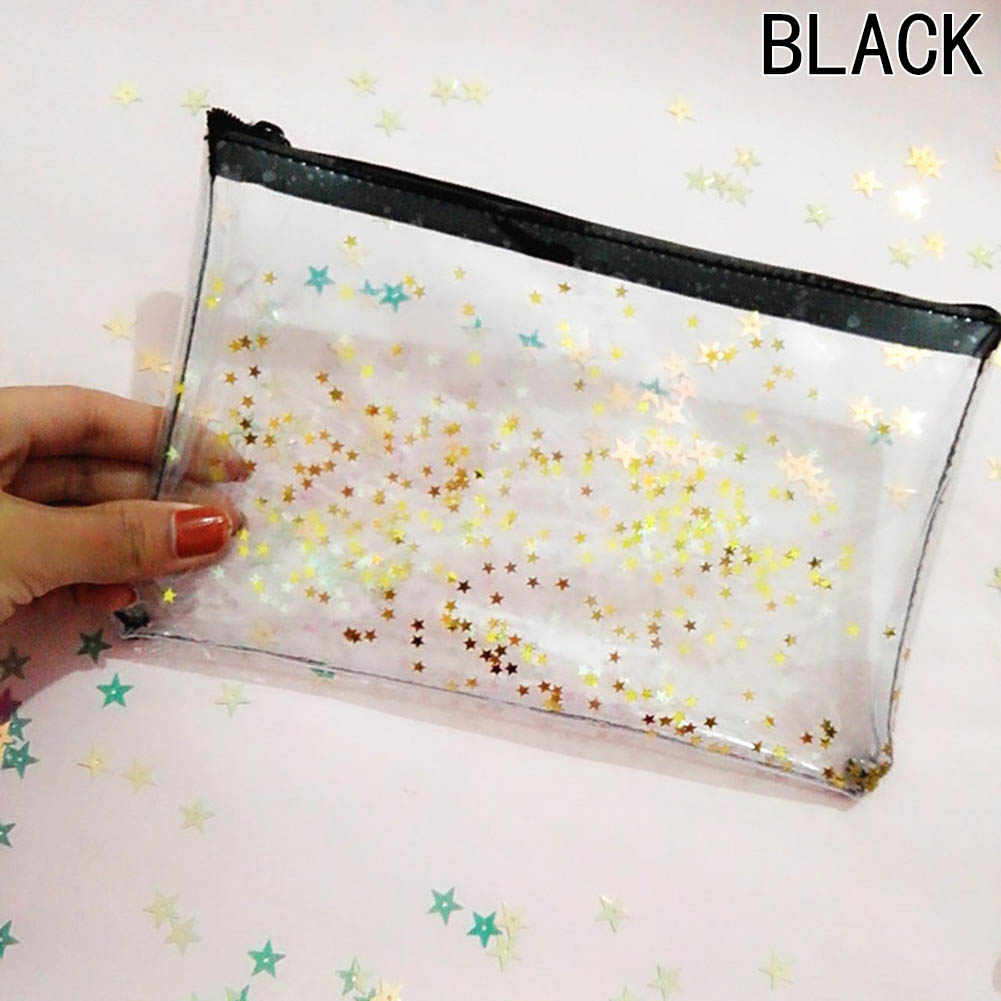 2017 New Cute Transparent  Glitter Stars Silica Gel PVC Plastic Water Proof Pencil Bag Pencil Case Cosmetic Bag School Supply