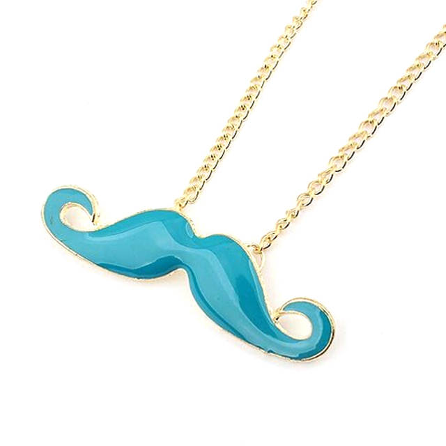 US $0 88 10% OFF Four Colored Lovely Retro Beard Shape Fashion Personality  Jewelry Mustache Sweater Chain Necklace Collarbone Chain N185-in Choker