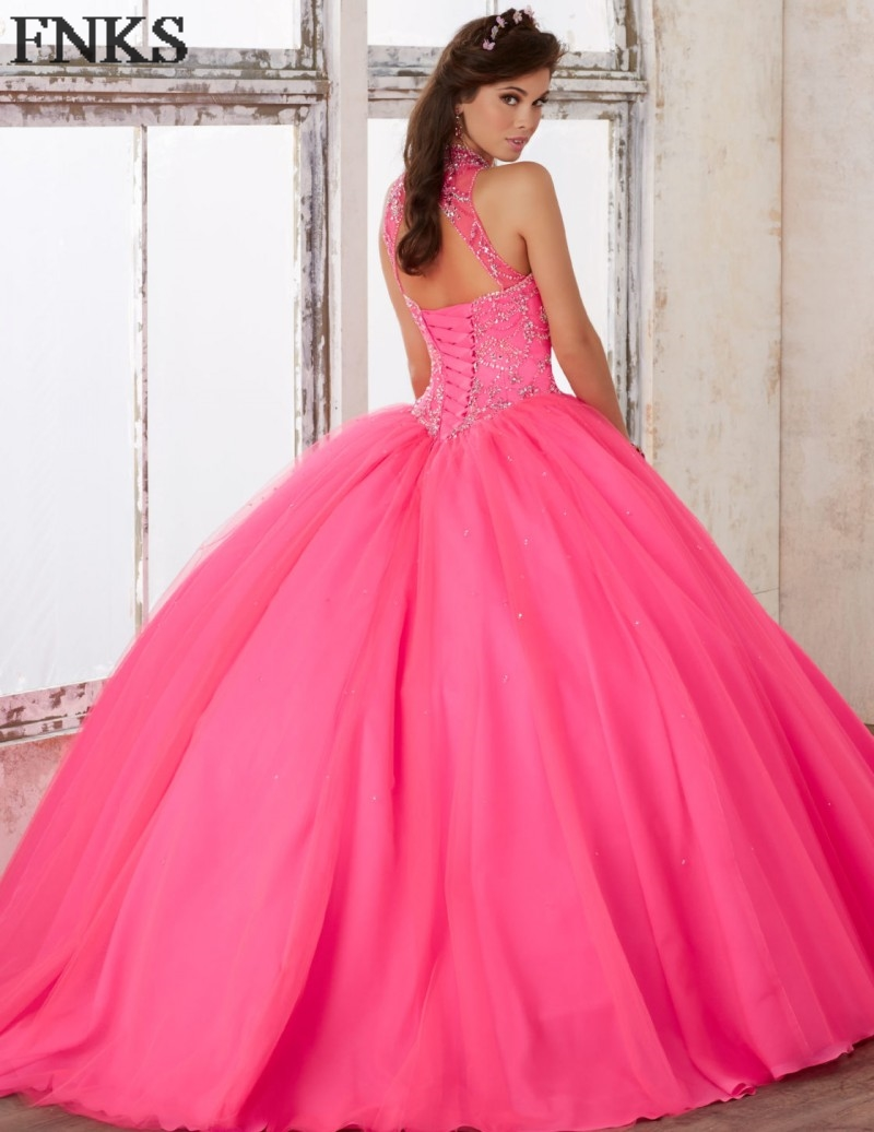 Vestidos de quinceanera Vintage Quinceanera Dresses Blue Crystal Beaded  High Neck Hot Pink Debut Ball Gown Prom Party Dress QD29-in Quinceanera  Dresses from ... 0dd1da4148fd