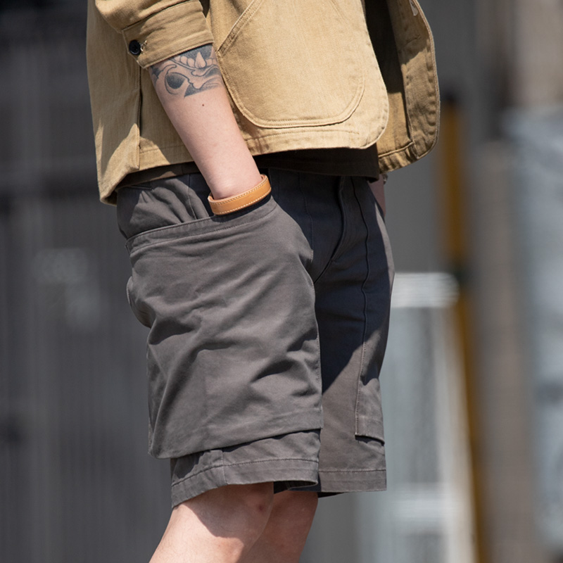 Maden Men's Retro Summer Shorts Regular Fit Stretch Twill Cargo Shorts Outdoor Work Shorts Military Shorts Khaki Grey