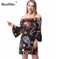 RealShe Women Sexy Print Dress Brand Seventh Sleeve Round Neck Mini Street Spring Summer Dresses Wear